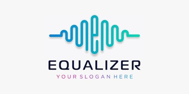Letra e com pulso. elemento equalizador. modelo de logotipo