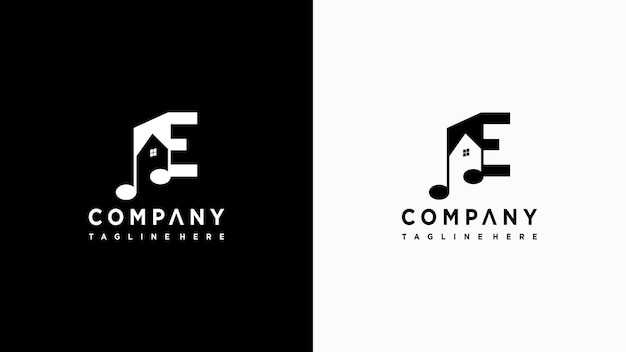 Letra e design de logotipo de música vetor premium