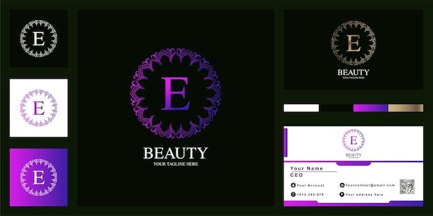 Letra e design de modelo de logotipo de quadro de flor de ornamento de luxo com cartão de visita.