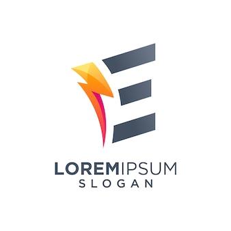 Letra e e parafuso logotipo