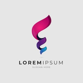 Letra e furacão gradiente logotipo