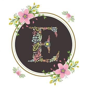 Letra e inicial com vetor floral