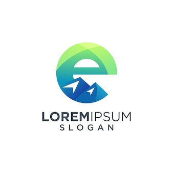 Letra e montanha logotipo