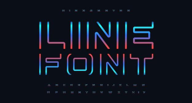 Letra e número de ponta definem alfabeto de cor cyberpunk de fonte futurística para cinema e jogos
