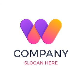 Letra em negrito moderno w logotipo de sobreposição de gradiente
