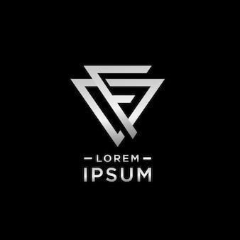 Letra f alfabeto logotipo design negrito e simples estilo triângulo forma