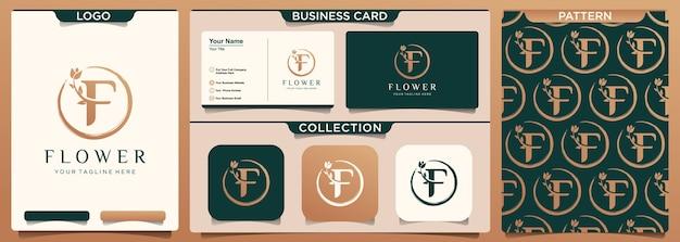 Letra f com design de logotipo de elemento de flor