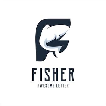 Letra f com logotipo de peixe silhueta retrô vintage