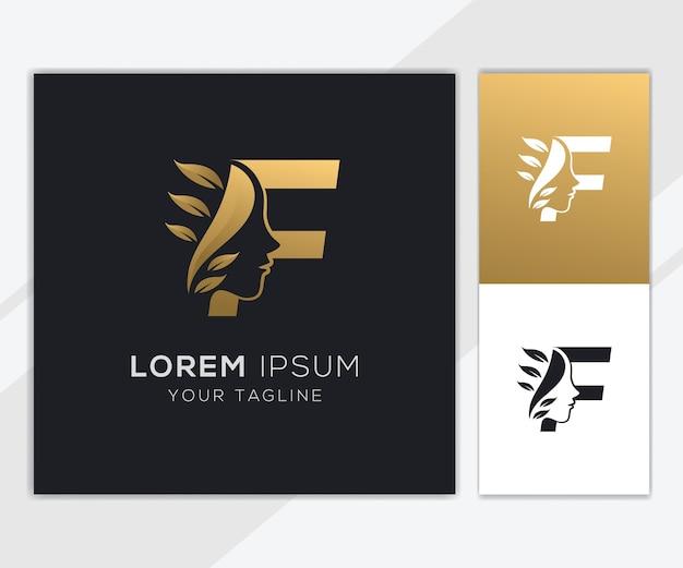Letra f com modelo de logotipo de beleza feminina natural de luxo