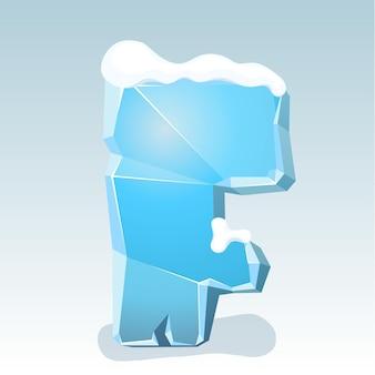 Letra f de gelo com neve no topo, fonte de vetor