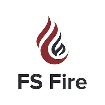 Letra f e s chama de fogo simples e elegante design de logotipo moderno geométrico