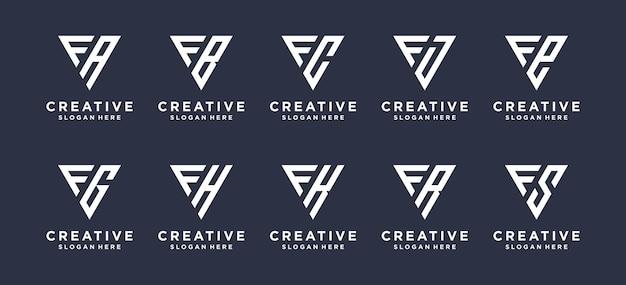 Letra f em forma de triângulo combinada com outros designs de logotipo de monograma.