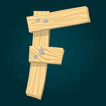 Letra f - fonte estilizada de vetor feita de pranchas de madeira marteladas com pregos de ferro.