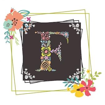 Letra f inicial com vetor floral