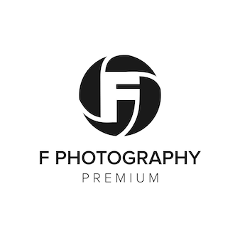 Letra f modelo de vetor de ícone de logotipo de fotografia