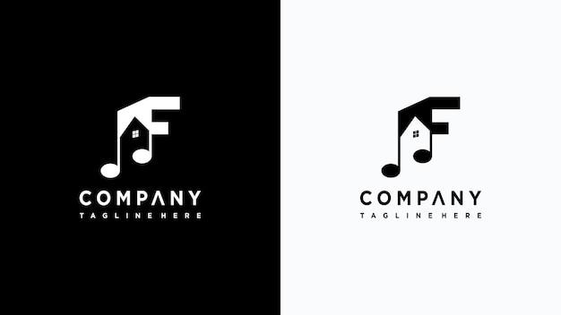 Letra f música logo design vetor premium