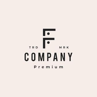 Letra f, pessoas, equipe, família, hipster, logotipo vintage, vetorial, ícone, ilustração