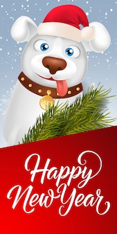 Letra feliz ano novo com cartoon dog