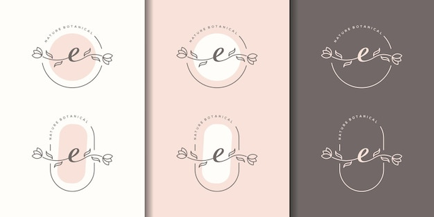 Letra feminina e com modelo de logotipo floral