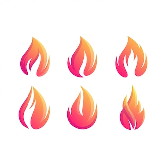 Letra fogo conjunto logotipo cor gradiente