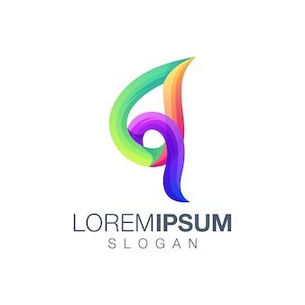 Letra folha q design de logotipo de cor gradiente