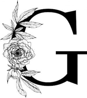 Letra g. alfabeto floral
