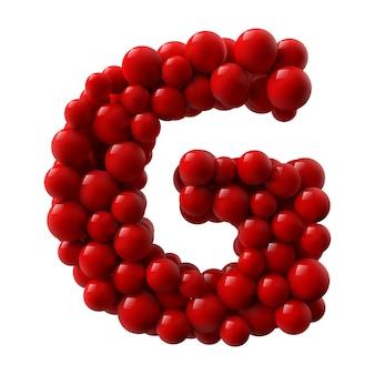 Letra g com bolas brilhantes coloridas vermelhas. ilustração realista.