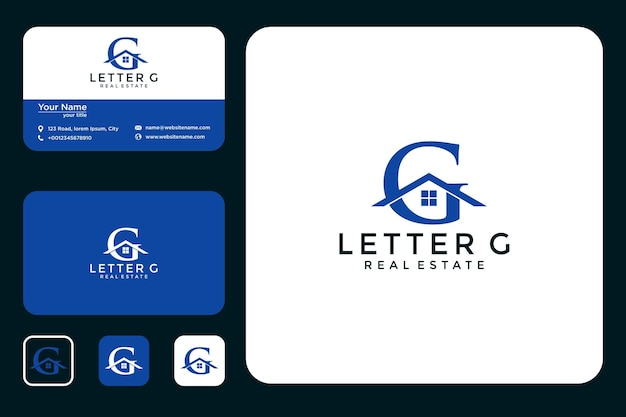 Letra g com design de logotipo da casa e cartão de visita