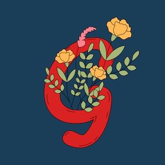 Letra g com folhas e flores vector