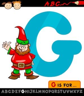 Letra g com gnome cartoon illustration
