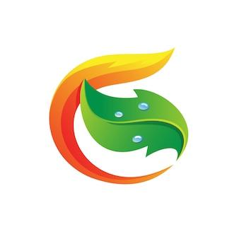 Letra g com logotipo de folha