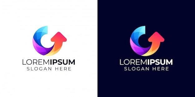 Letra g com logotipo de seta
