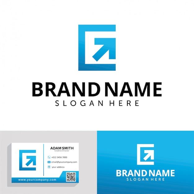 Letra g com modelo de design de logotipo de seta