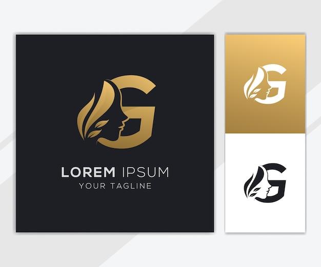 Letra g com modelo de logotipo de beleza feminina natural de luxo