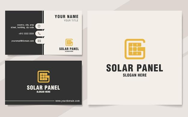 Letra g com modelo de logotipo de painel solar em estilo monograma