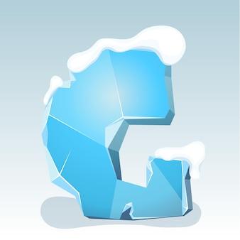 Letra g de gelo com neve no topo, fonte de vetor