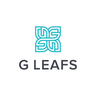 Letra g e folhas simples, elegante, criativo, geométrico, moderno, design de logotipo