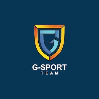 Letra g e logotipo escudo