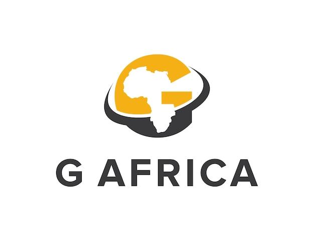 Letra g e negativo espaço mapa de áfrica simples, elegante, criativo, geométrico, moderno, logotipo