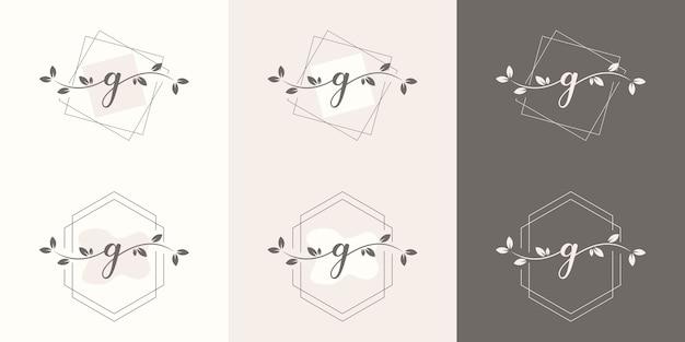Letra g feminina com modelo de logotipo floral
