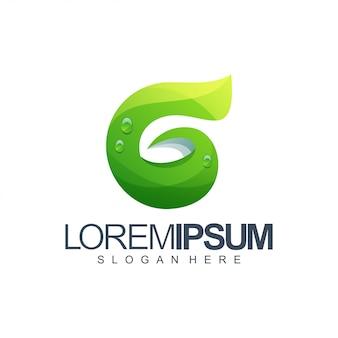 Letra g folha logotipo design ilustração