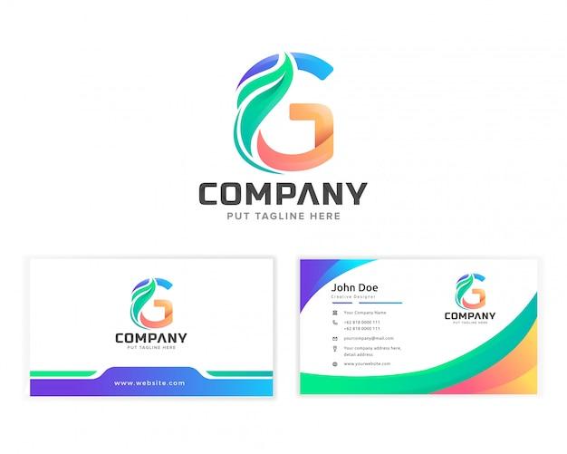 Letra g inicial logotipo colorido com folha