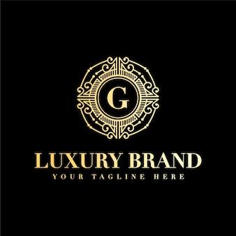 Letra g inicial, luxo, beleza vintage, ornamento, monograma dourado, logotipo