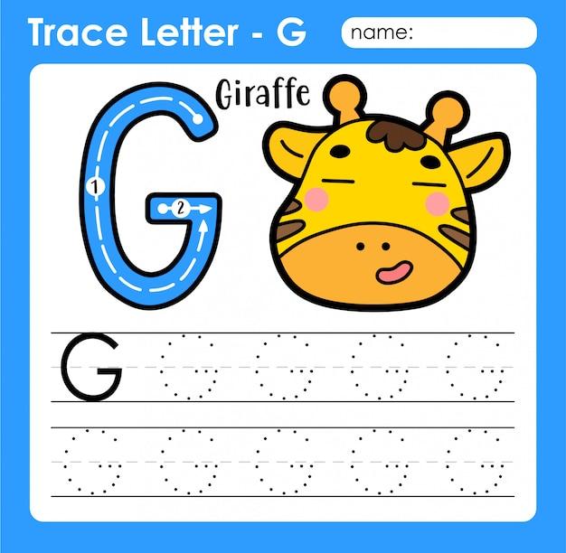 Letra g maiúscula - planilha de rastreamento de letras do alfabeto com girafa