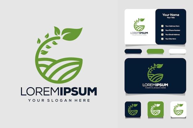 Letra g modelo de design de logotipo da natureza e cartão de visita