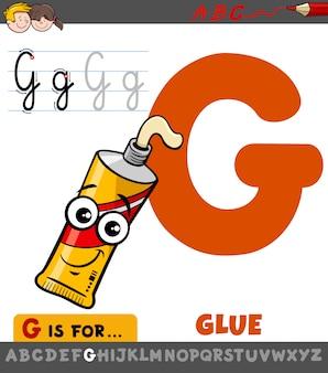 Letra g planilha com tubo de cola dos desenhos animados