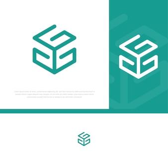 Letra g quadrada moderna logotipo