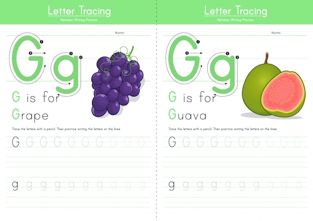 Letra g rastreamento comida alfabeto