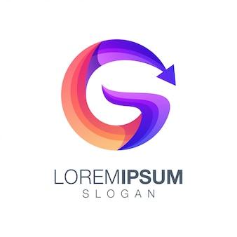 Letra g seta gradiente cor logotipo design