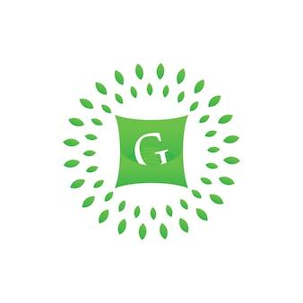 Letra g sobre travesseiro e folha verde para o modelo de logotipo com carta editável de hotel ou empresa